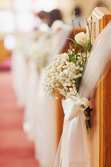arreglos de iglesia para matrimonio con tela