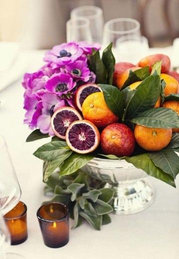centros de mesa con frutas naturales creativos