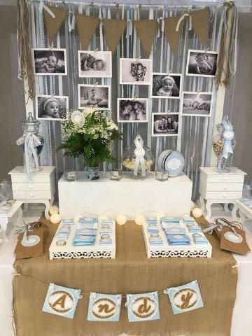 como adornar un salon para bautizo con fotografias