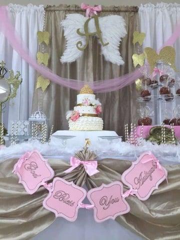 como adornar una mesa para bautizo princesa