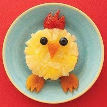 decoracion de frutas para niños de pollito