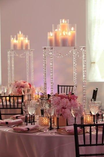 decoracion de salon para casamiento en rosa