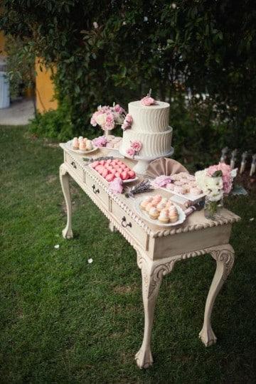 mesa de dulces para bautizo vintage escritorio