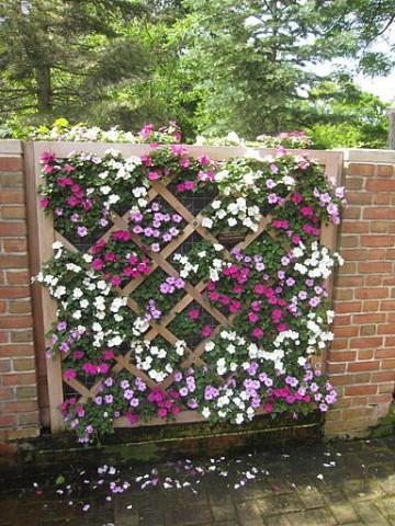 paredes de jardin decoradas con flores