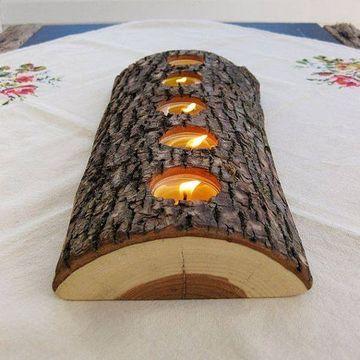 adornos de madera rusticos con tronco