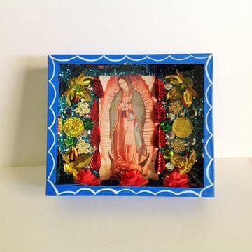 adornos para la virgen de guadalupe caja de madera