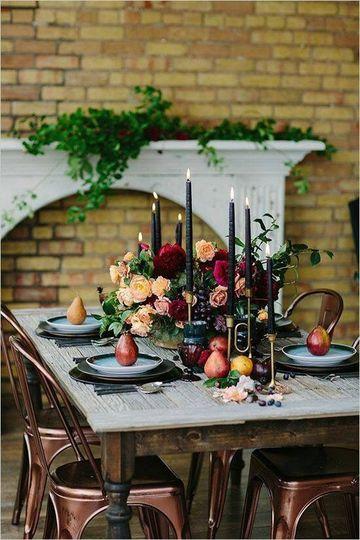 arreglos de mesa con velas sencillos
