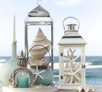 centros de mesa de mar en la playa