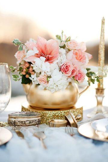 centros de mesa dorados para bodas