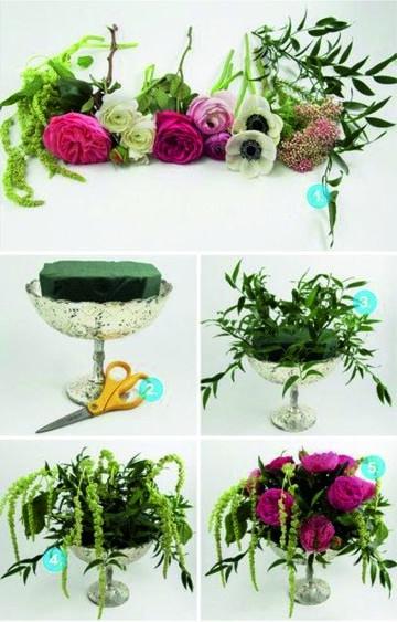 como hacer arreglos florales para bodas con copa