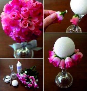 como hacer arreglos florales para bodas con esfera