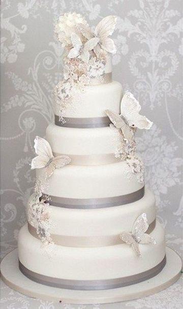diseños de pasteles para boda con decoracion de mariposas