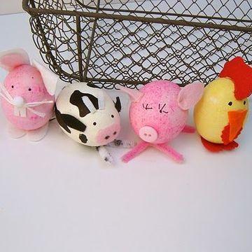huevos decorados para niños de animales de granja