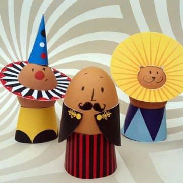 huevos decorados para niños de personajes de circo
