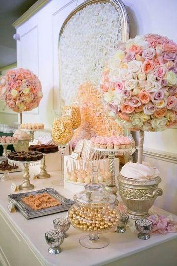 mesas de golosinas para bodas sencilla