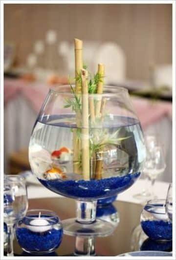 peceras decoradas para centros de mesa con bambu