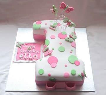 tortas para nena de 1 año de mariposas