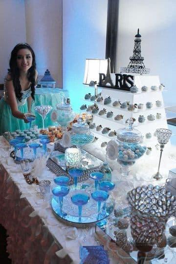 adornos de mesa para quinceañera paris