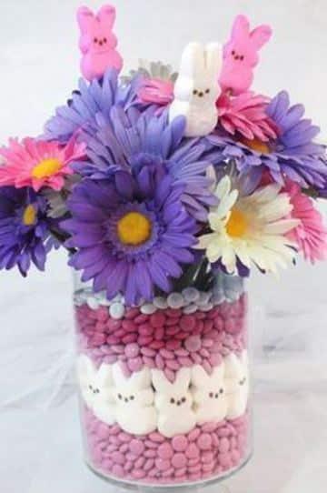 arreglos florales para niñas con dulces