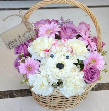 arreglos florales para niñas de perritos
