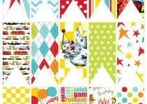 Coloridos banderines de papel para imprimir y decorar