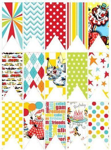banderines de papel para imprimir de payaso
