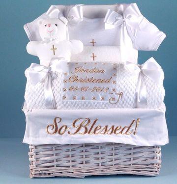 canastas decoradas para bautizo en blanco