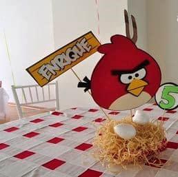 centro de mesa angry birds con nido