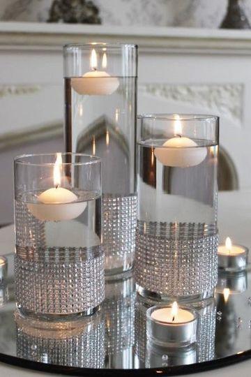 centros de mesa con espejos elegantes