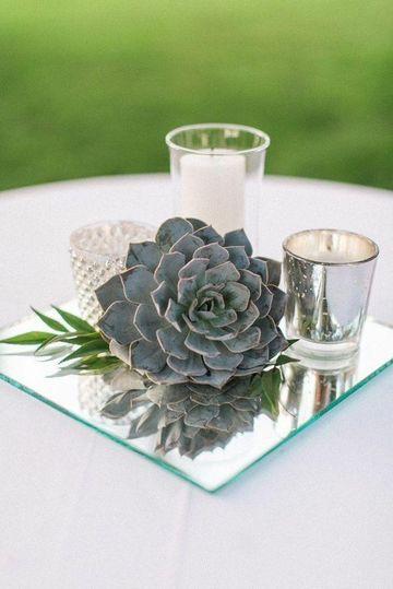 centros de mesa con espejos natural