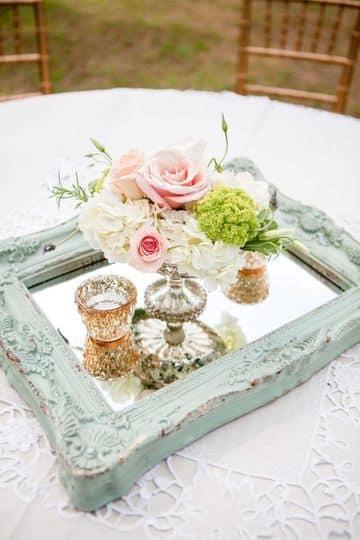 centros de mesa con espejos vintage