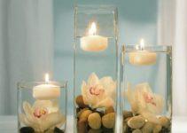 Hermosos y unicos centros de mesa con frascos y velas