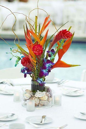 centros de mesa para fiestas hawaianas para bodas