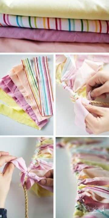 como hacer banderines de cumpleaños de tela