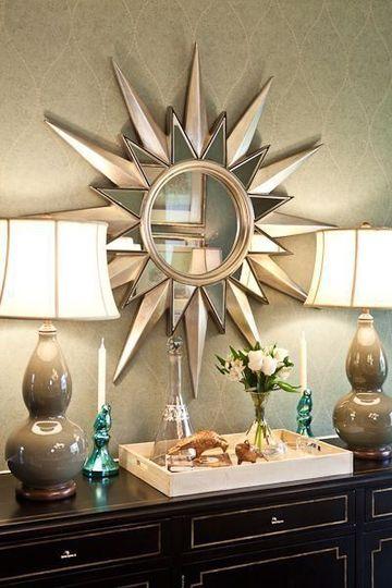 Dise os decorativos basados en espejos en forma de sol centros de mesa para bautizos - Formas de espejos ...