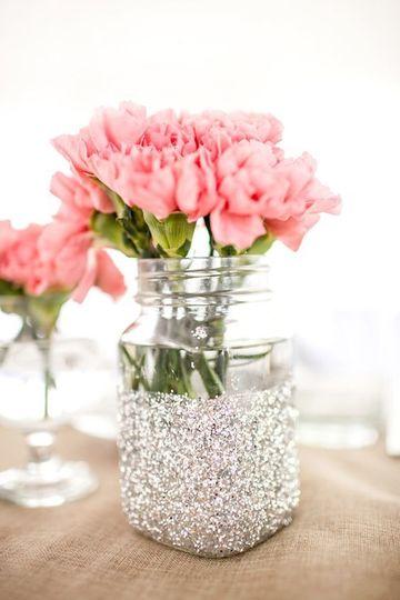 frascos de vidrio decorados para 15 años sencillos