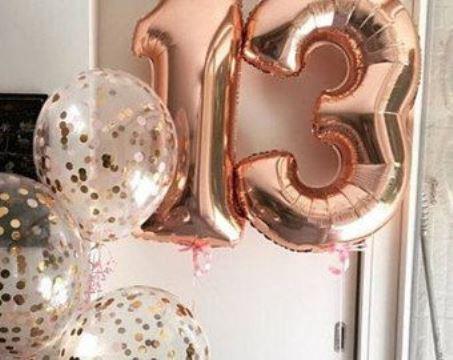 globos con numeros para cumpleaños 13