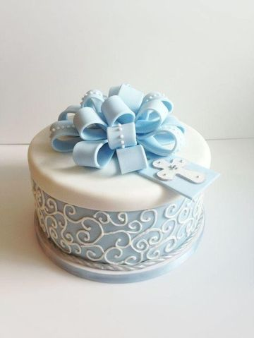 pasteles para bautizo de niño redondo