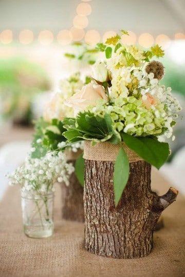 adornos con troncos de arboles para decorar
