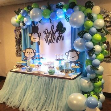 Decoracion elegante y adornos para baby shower varon for Decoracion para pared de baby shower