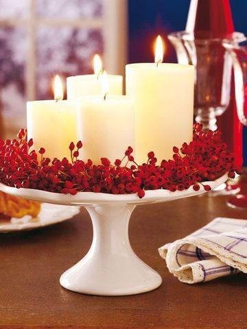 adornos para centro de mesa de sala con velas