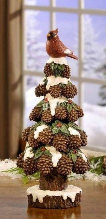 artesanias con troncos de arboles para navidad