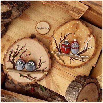 artesanias con troncos de arboles y piedras