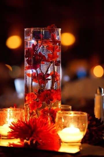 centros de mesa artificiales para boda con velas