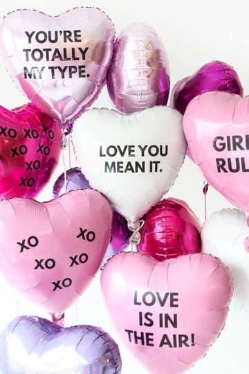 globos de corazon con helio para san valentin
