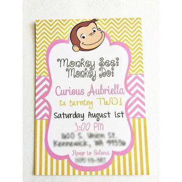 invitaciones de jorge el curioso de niñas
