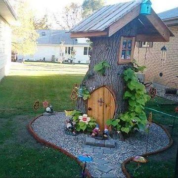 jardines decorados con troncos de casita