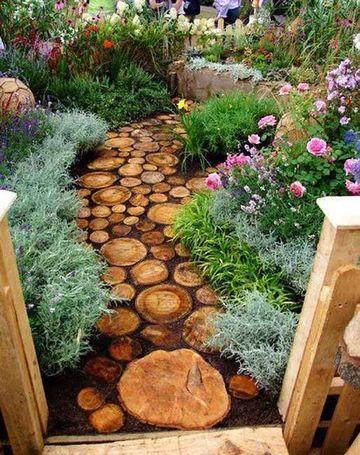 jardines decorados con troncos estilo camineria