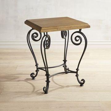 mesas coquetas en madera con hierro forjado