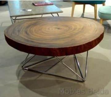 mesas de troncos naturales de centro
